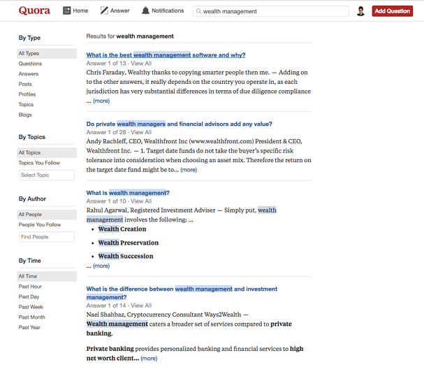 Quora-Search-Wealth-Management-Results